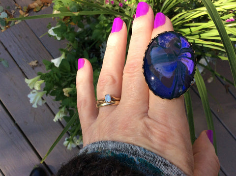 Oval Ring, Blue and Purple-Jewelry, Rings-Fullamoon Designs