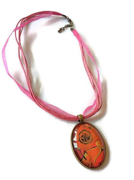 Oval Pendant Necklace, Orange, Yellow and Pink-Jewelry-Fullamoon Designs