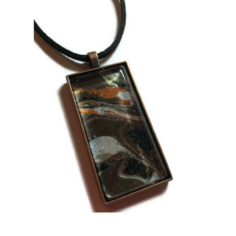 Rectangle Pendant Necklace, Galaxy Design-Jewelry-Fullamoon Designs