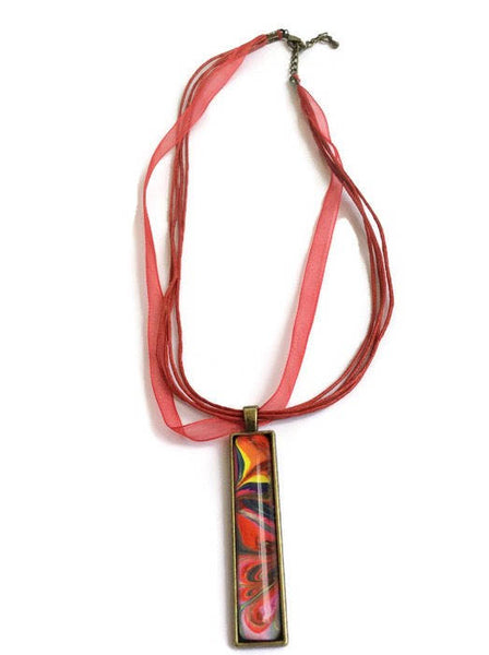 fashion jewelry bar pendant necklace multicolor rainbow
