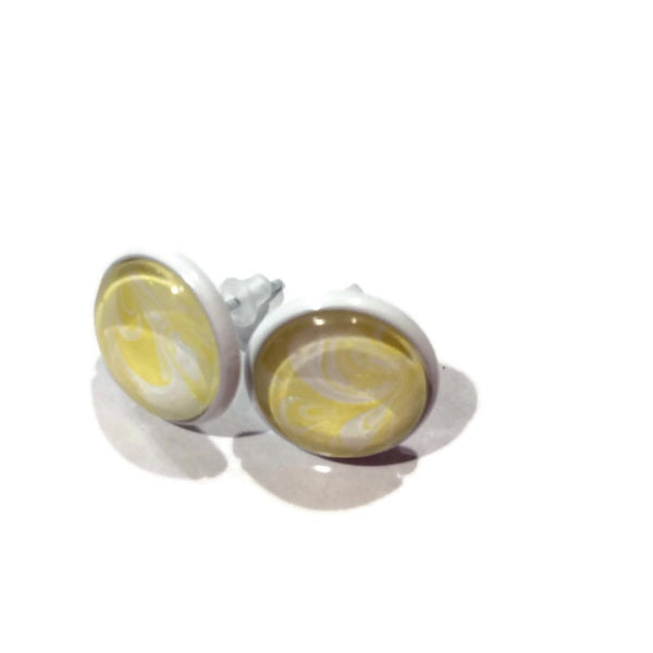 Earrings, Yellow and White-Jewelry-Fullamoon Designs