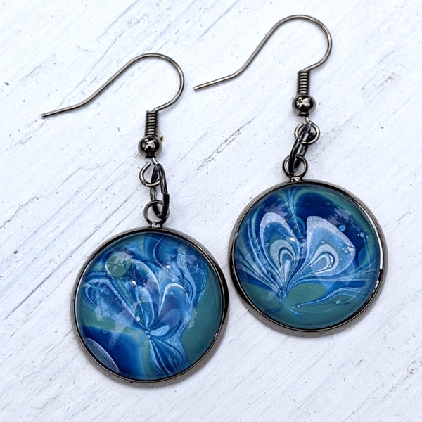 Earrings, Abstract Blue snd Soft Green-Jewelry-Fullamoon Designs