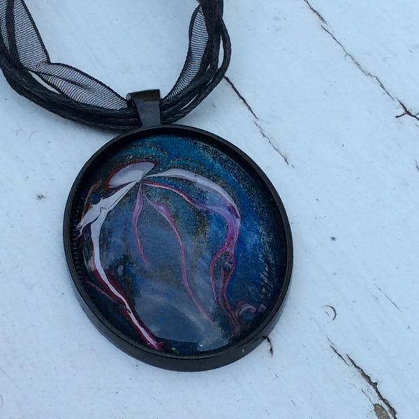 Oval Pendant Necklace, Magenta and White  Jellyfish