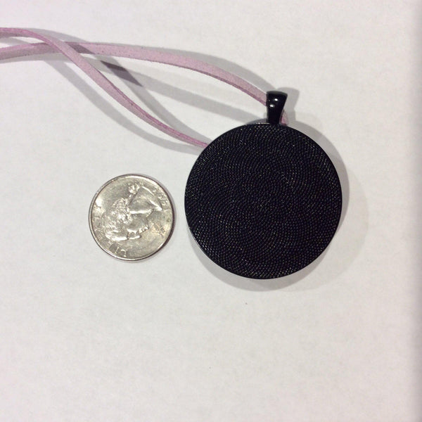 Round Pendant Necklace, Black, White, Purple and Iridescent Pink-Jewelry-Fullamoon Designs