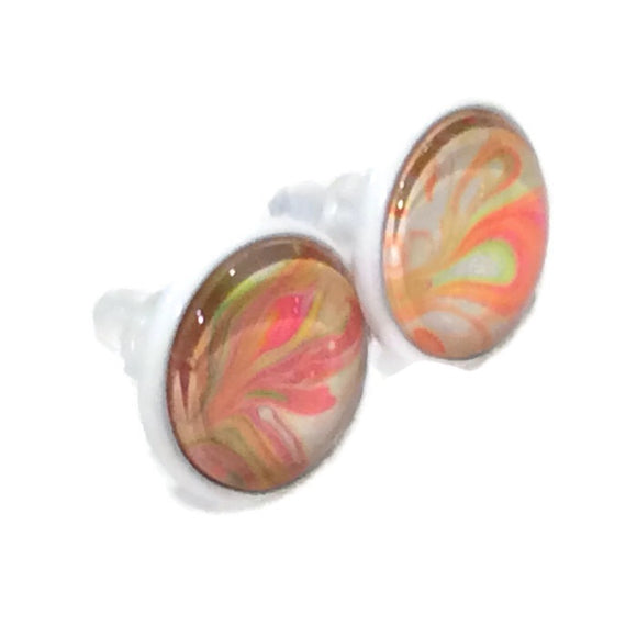 hand painted earrings pink orange and green neon