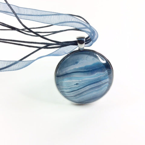 Pendant Necklace, Calm Ocean Scene-Jewelry-Fullamoon Designs