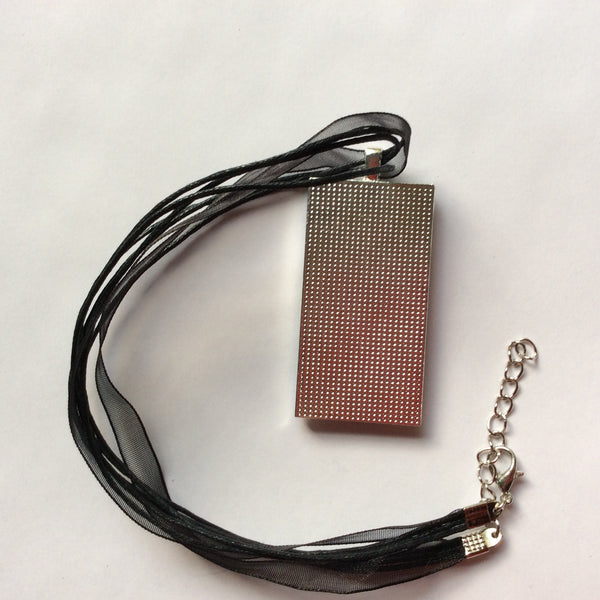 Rectangle Pendant Necklace, Black & White Abstract Design