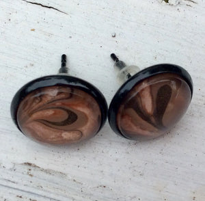 Earrings, Abstract Studs in Peach, Brown and Black-Jewelry-Fullamoon Designs