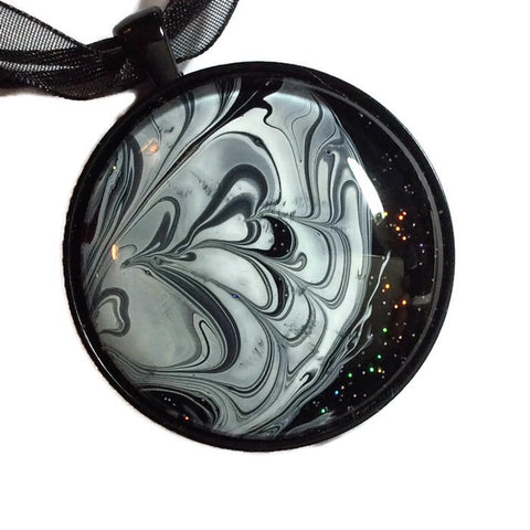 watermarble Moon Pendant Cosmic Necklace