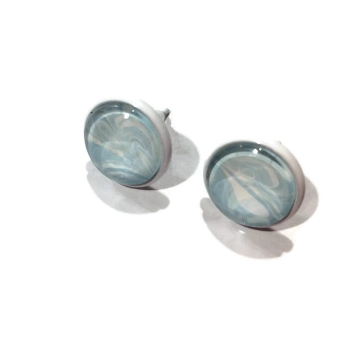 water marble earrings light blue and white