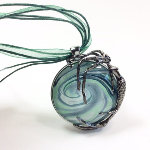 mermaid pendant with green wave