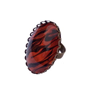 Ring, Tiger Pattern Statement Ring, Safari Style-Jewelry, Rings-Fullamoon Designs