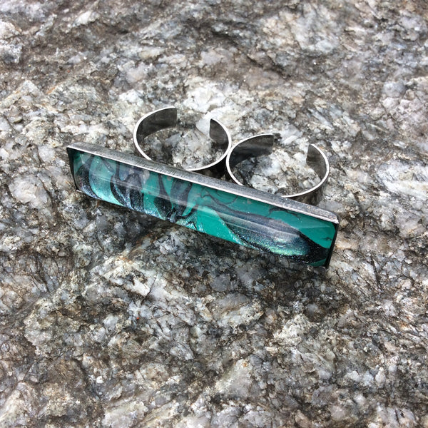 Ring, Abstract Double Ring, Aqua and Black, Silver