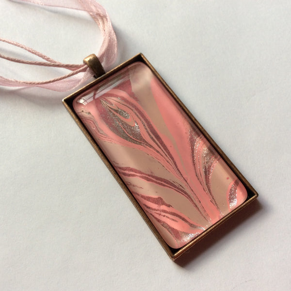 Rectangle Pendant Necklace, Pink Abstract Design-Jewelry-Fullamoon Designs