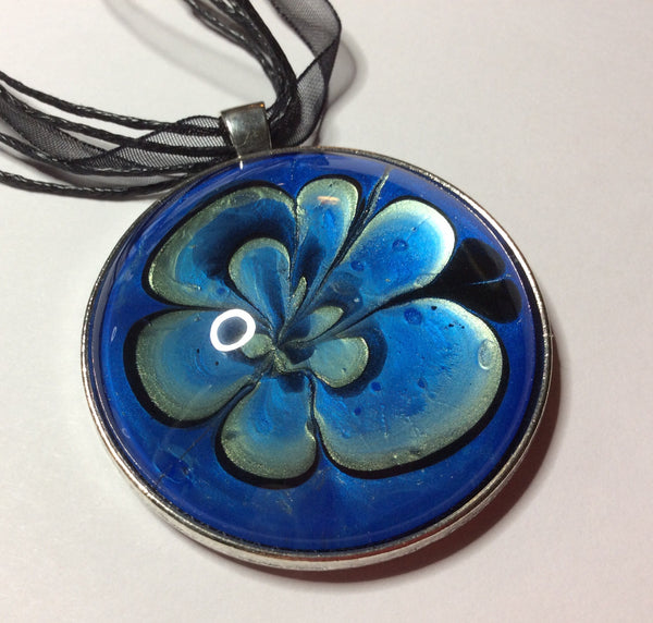 Round Pendant Necklace, Shades of Blue and Black-Jewelry-Fullamoon Designs