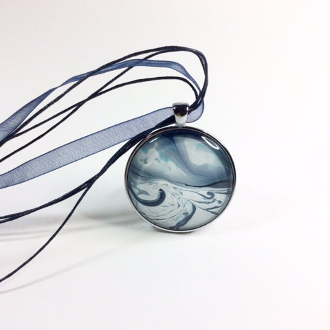 blue painted ocean pendant necklace