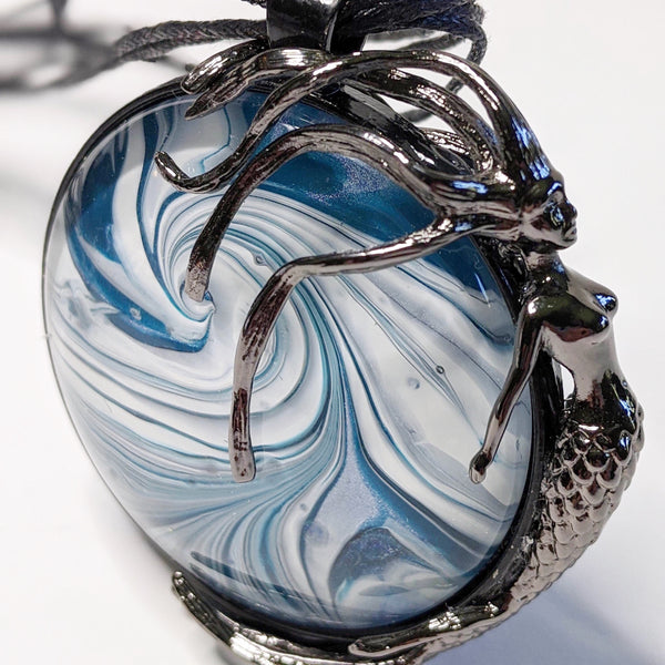 Round Pendant Necklace, Mermaid Floating on Wave-Jewelry-Fullamoon Designs