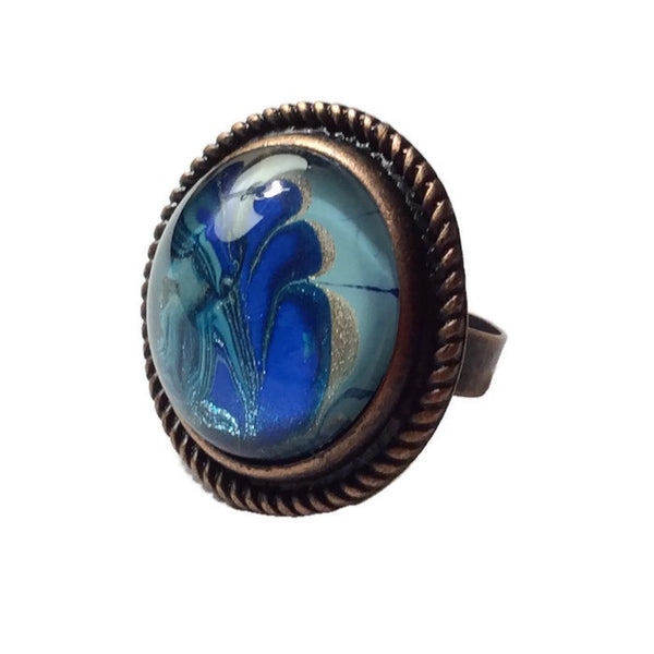 Ring, Blue, Aqua, and Copper-Jewelry-Fullamoon Designs