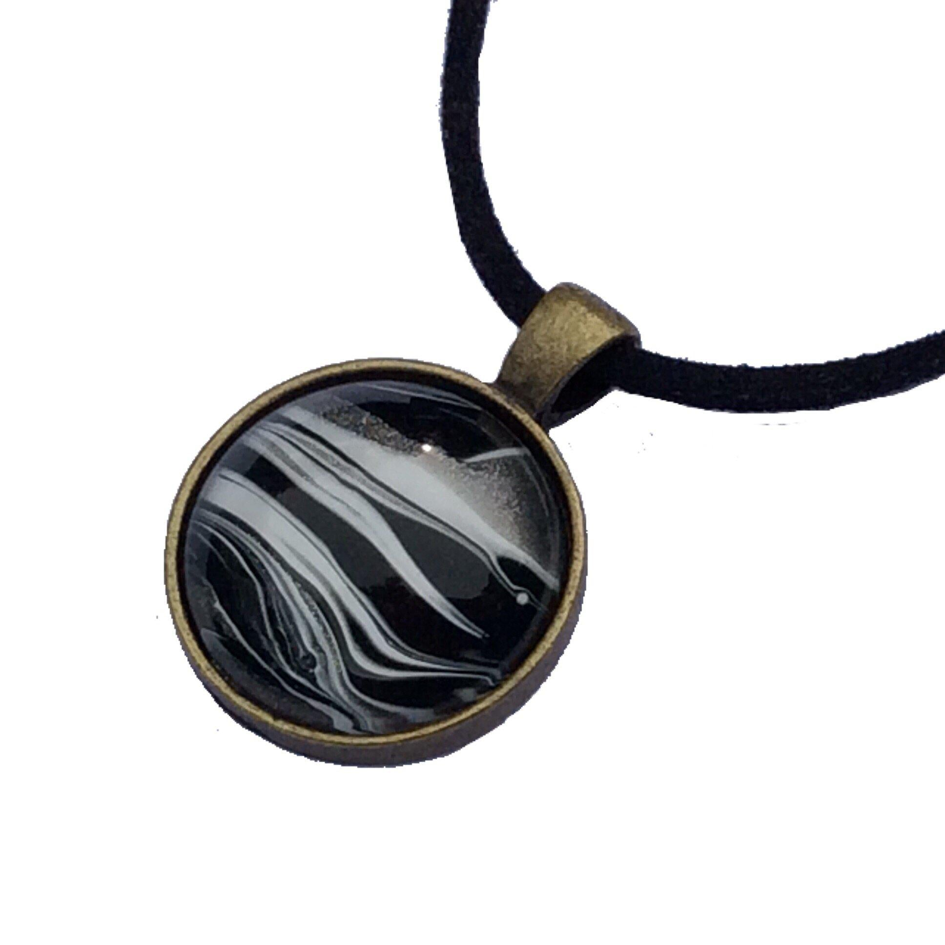 Necklace, Zebra Black & White Safari Pendant-Jewelry-Fullamoon Designs