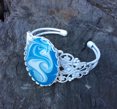 Wave Bracelet, Blue and White, Ocean Waves-Jewelry-Fullamoon Designs