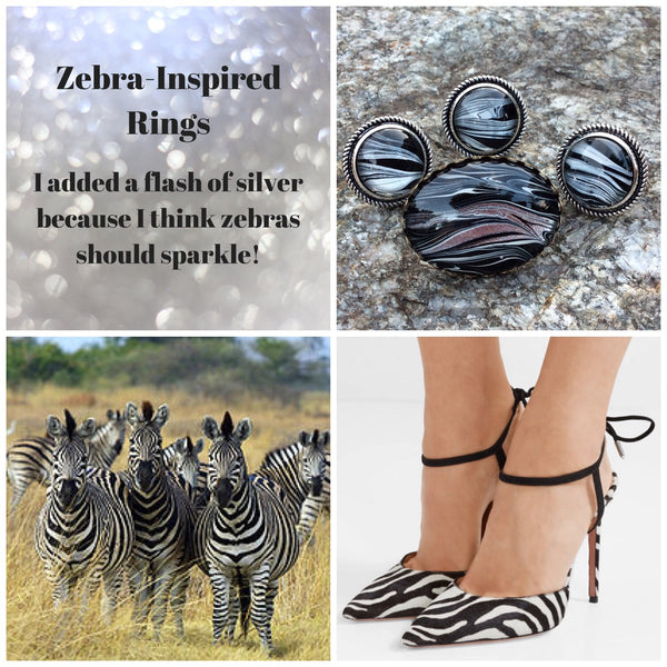 Ring, Zebra Pattern Statement Ring, Safari Style-Jewelry, Rings-Fullamoon Designs