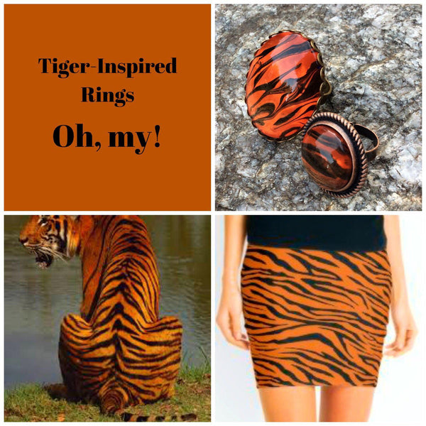 Necklace, Tiger Safari Pendant, Orange, Copper and Black-Jewelry-Fullamoon Designs