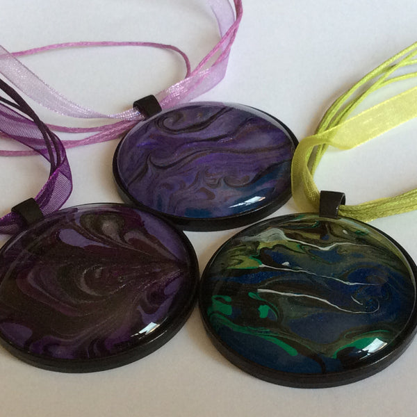 Round Pendant Necklace, Multicolored Galaxy-Jewelry-Fullamoon Designs