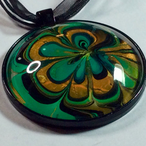 Round Pendant Necklace, Green and Golden Orange