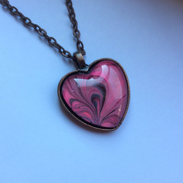 Heart Pendant Necklace, Pink