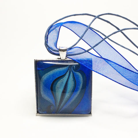Square Yoni Pendant Necklace, Blues