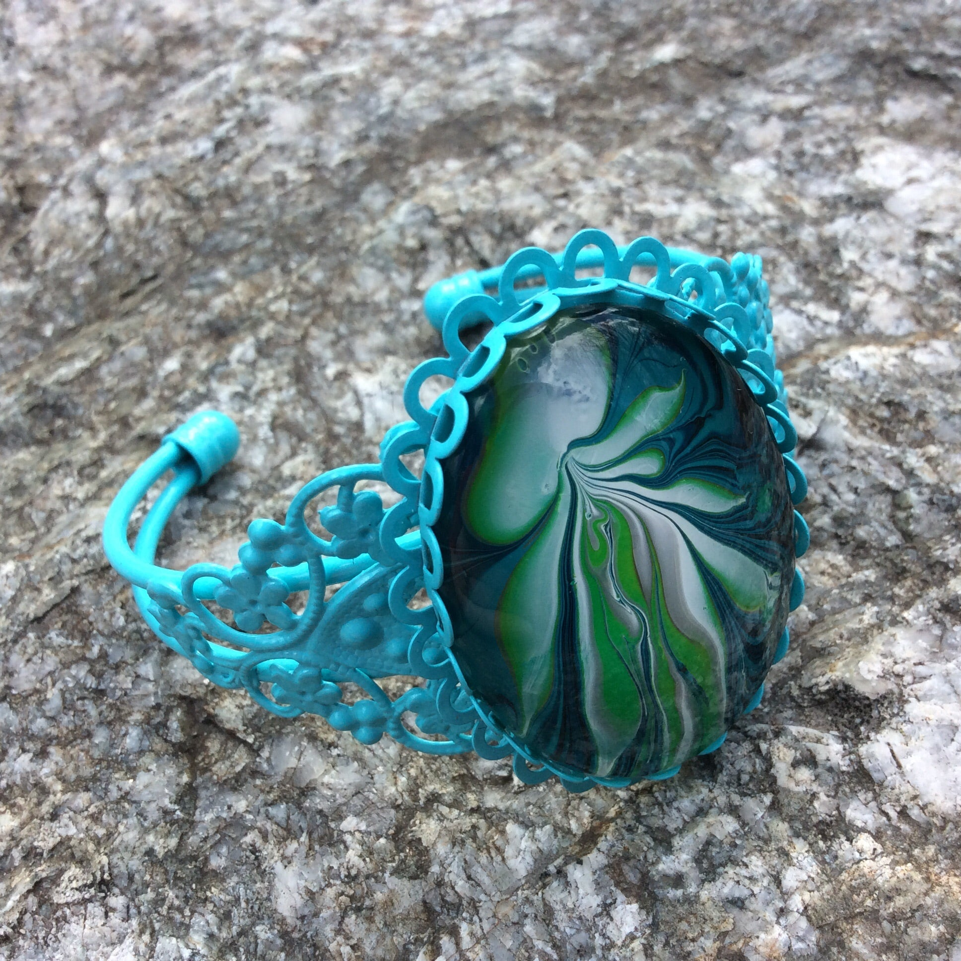Bracelet, Aqua and Green Floating Jellyfish-Jewelry-Fullamoon Designs