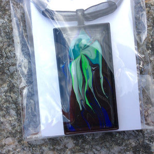 Rectangle Pendant Necklace, Green Jellyfish-Jewelry-Fullamoon Designs