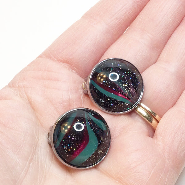 Clip-on Earrings, Sparkly Galaxies-Jewelry-Fullamoon Designs
