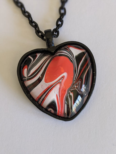 Heart Pendant Necklace, Pink Black & White-Jewelry-Fullamoon Designs