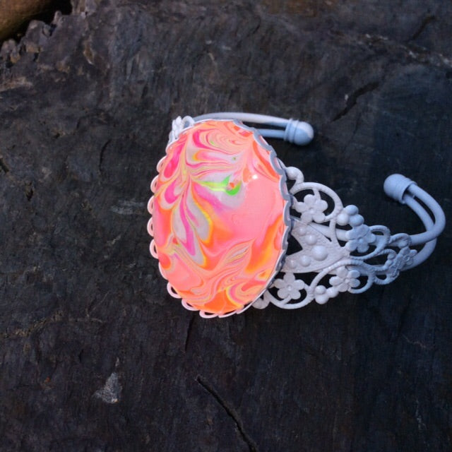 Bracelet, Neon Orange Pink and White-Jewelry-Fullamoon Designs