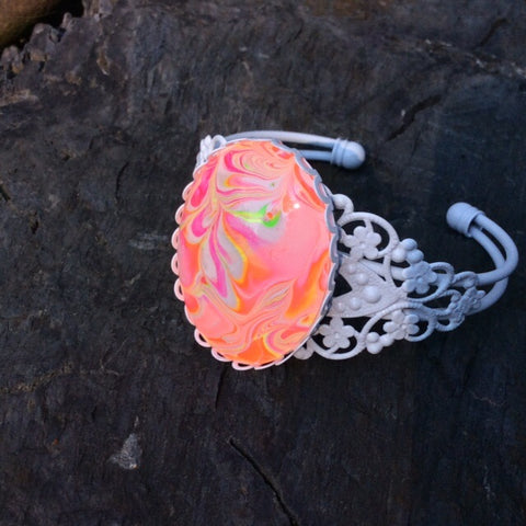 Bracelet, Neon Orange Pink and White