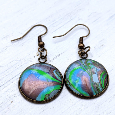 Earrings, Abstract Green, Copper and Blue