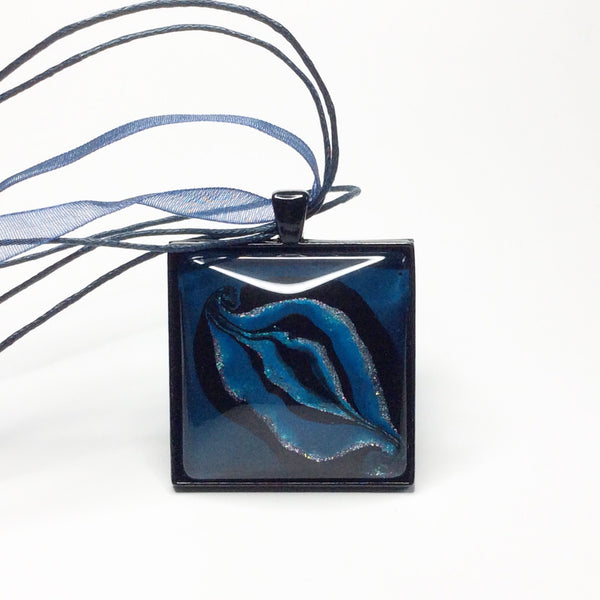 Yoni Pendant Necklace, Square Blues-Jewelry-Fullamoon Designs