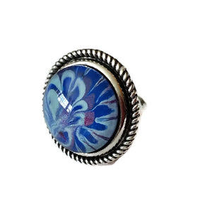 blue hand painted ring