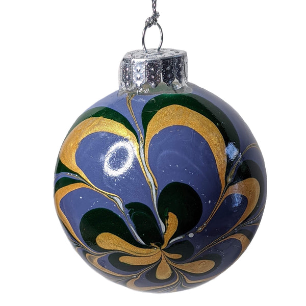 Marbled Glass Ornament, Purple Wild Flower-Fullamoon Designs