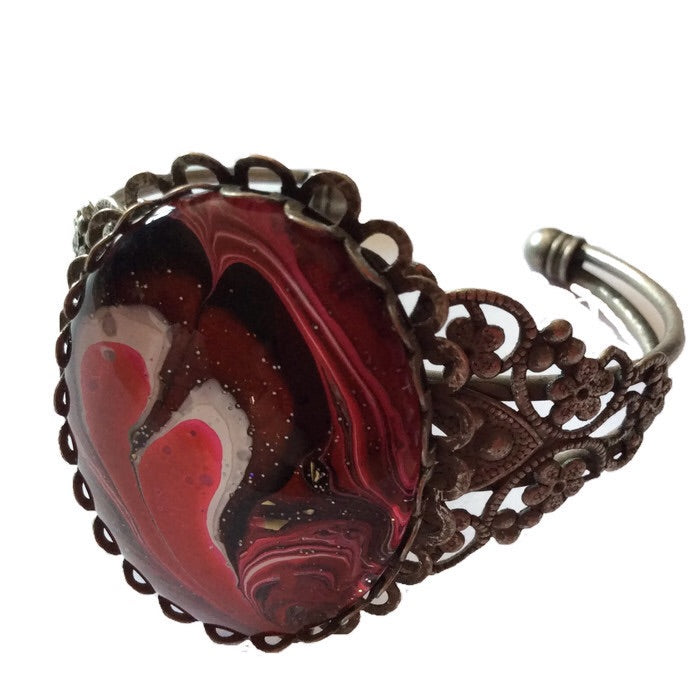 Bracelet, Red, Black and White-Jewelry-Fullamoon Designs
