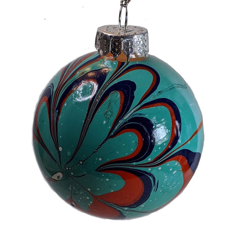 Marbled Glass Ornament, Chipper Flower