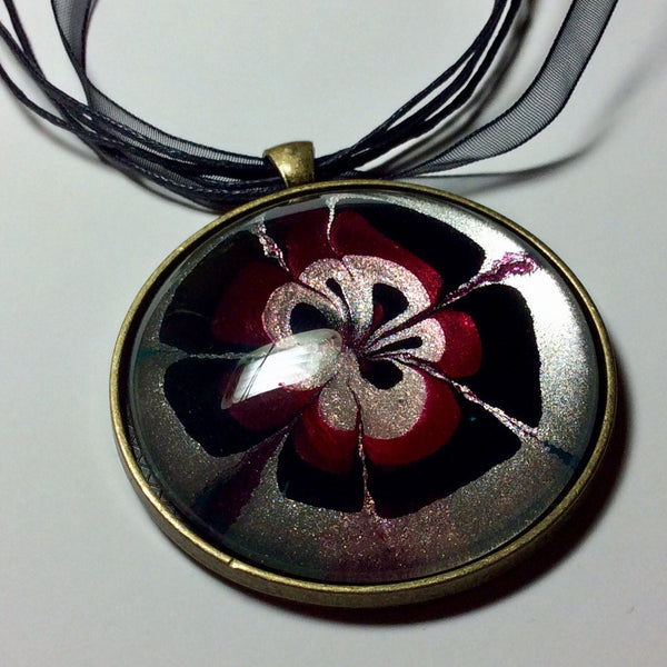 Pendant Necklace and Earring Set, Cranberry & Black Floral