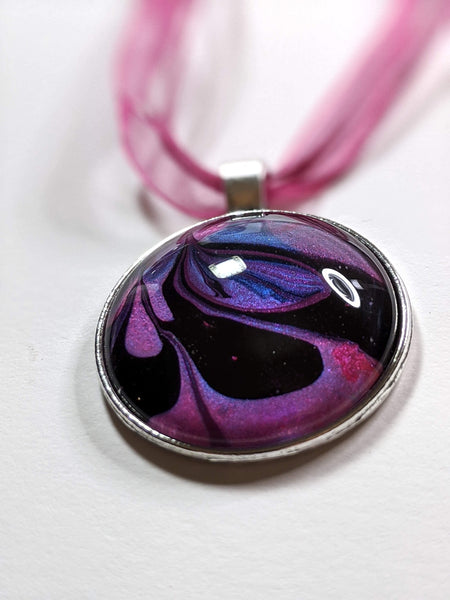 Blue and pink marbleized pendant