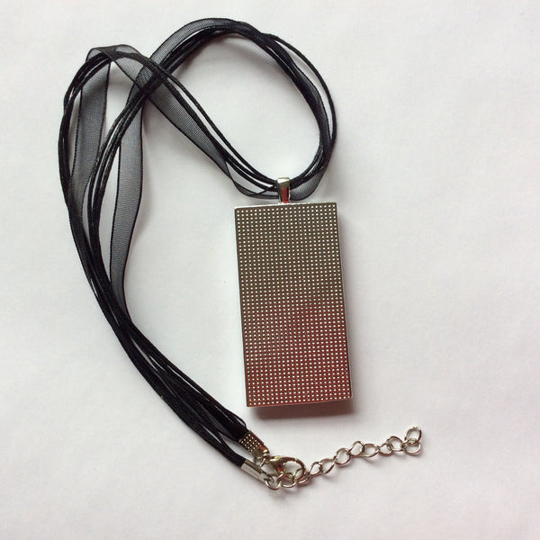 Rectangle Pendant Necklace, White & Black Abstract Design