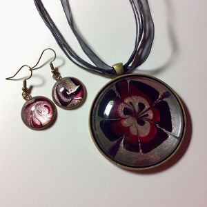 Pendant Necklace and Earring Set, Cranberry & Black Floral-Jewelry-Fullamoon Designs