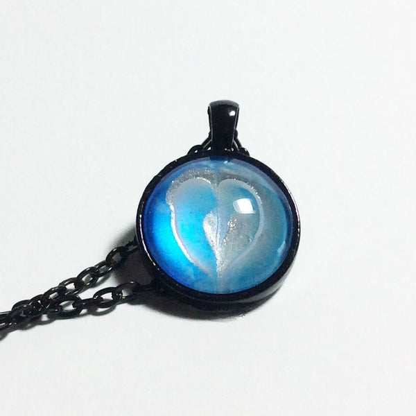 Round Pendant Necklace, Tiny Blue Heart-Jewelry-Fullamoon Designs