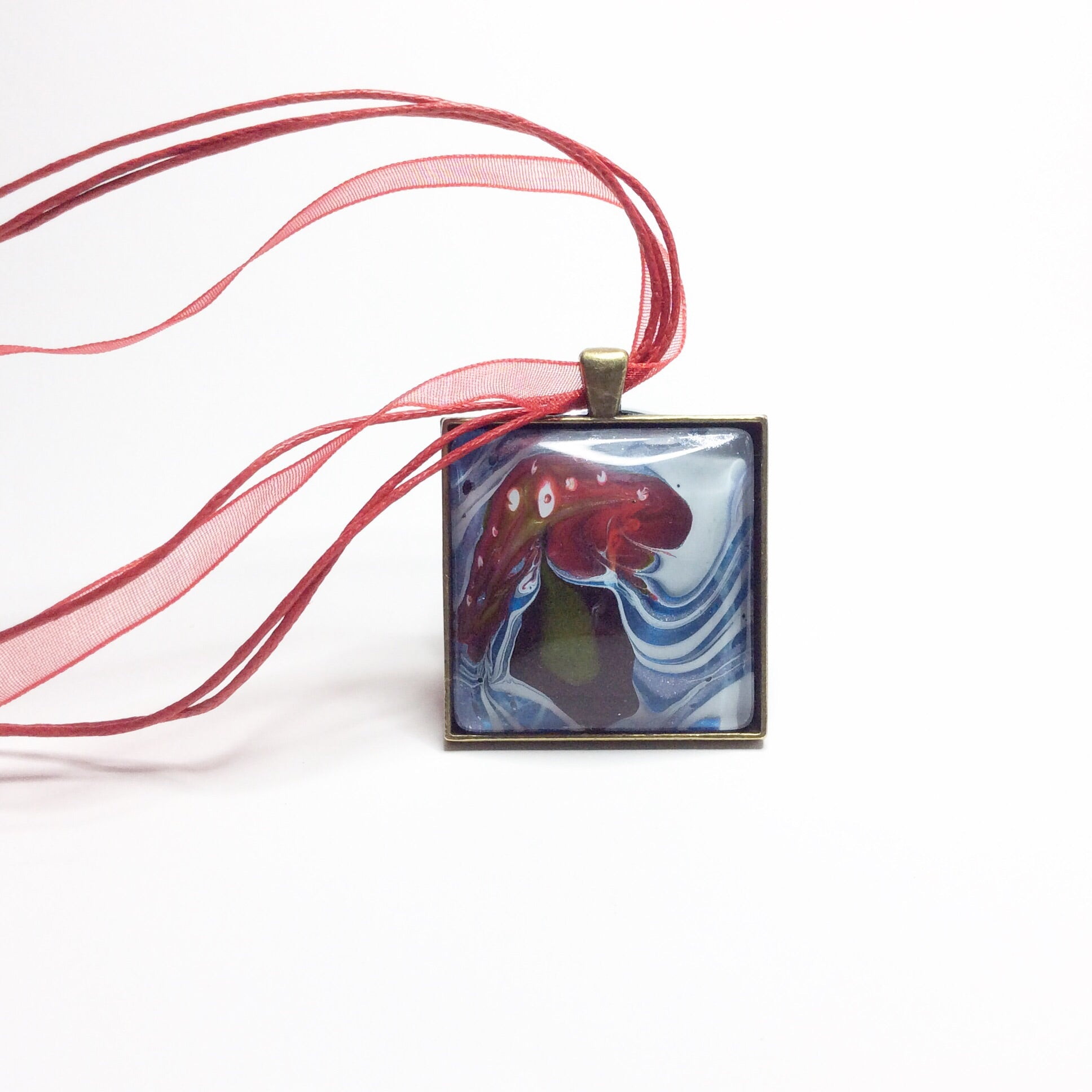 Square Pendant Necklace, Red Mushroom