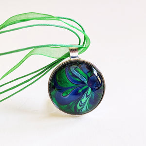 Pendant Necklace, Swirly Blue & Green