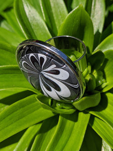 Statement Ring, Black, White & Silver Floral